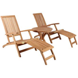 Gartenmöbelset Teak Deckchair Yacht & Tisch Burton