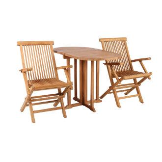 Gartenmöbelset Teak Sessel Andover & Tisch Balcony