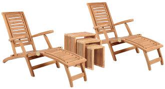 Gartenmöbelset Teak Deckchair ZickZack & Beistelltisch 3er Set