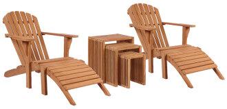 Gartenmöbelset Teak Deckchair Montreal & Beistelltisch 3er Set