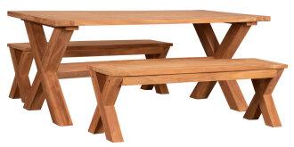 Gartenmöbelset Richmond Teak Tisch & 2 Bänke
